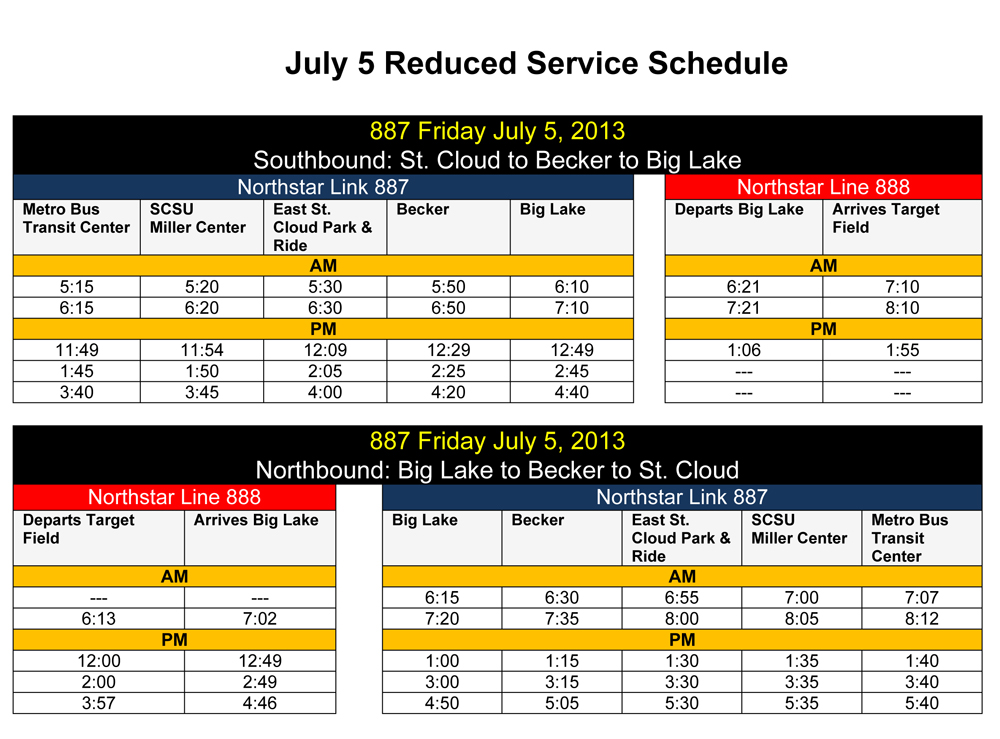 July 5, 2013 Reduced Northstar Link service schedule