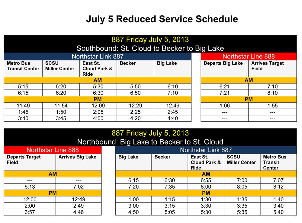 July 5, 2013 Reduced Northstar Link service schedule