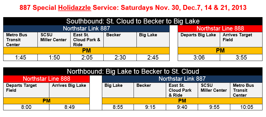 Northstar Link service schedule for Target Holidazzle Parade