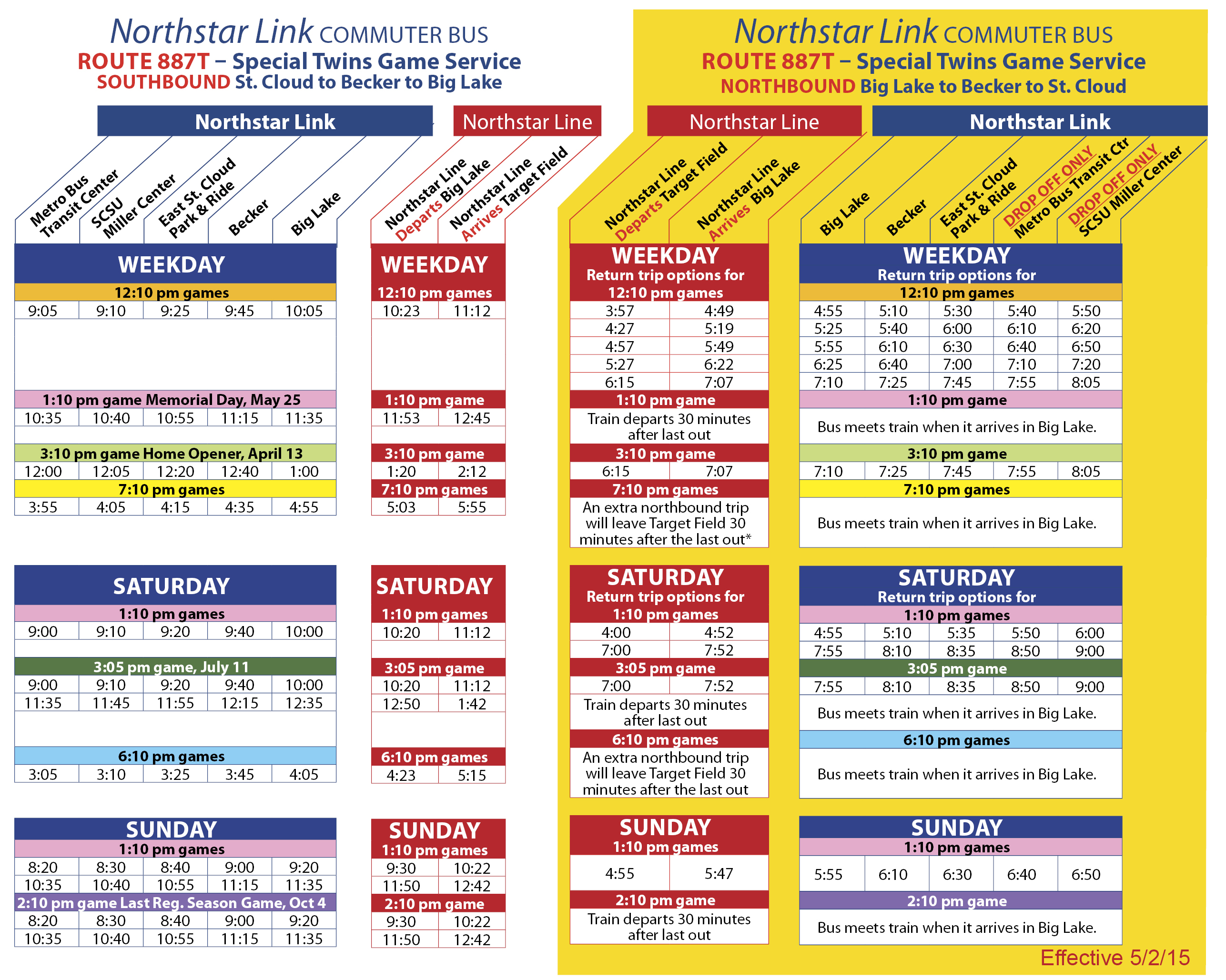northstar link bus announces minor changes to 887 & 887t schedules