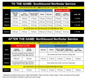 Northstar Link 997T schedule Oct. 2-4, 2015