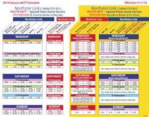image of 887T schedule