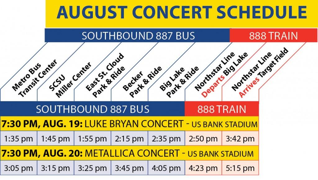 August 2016 Concert Schedule