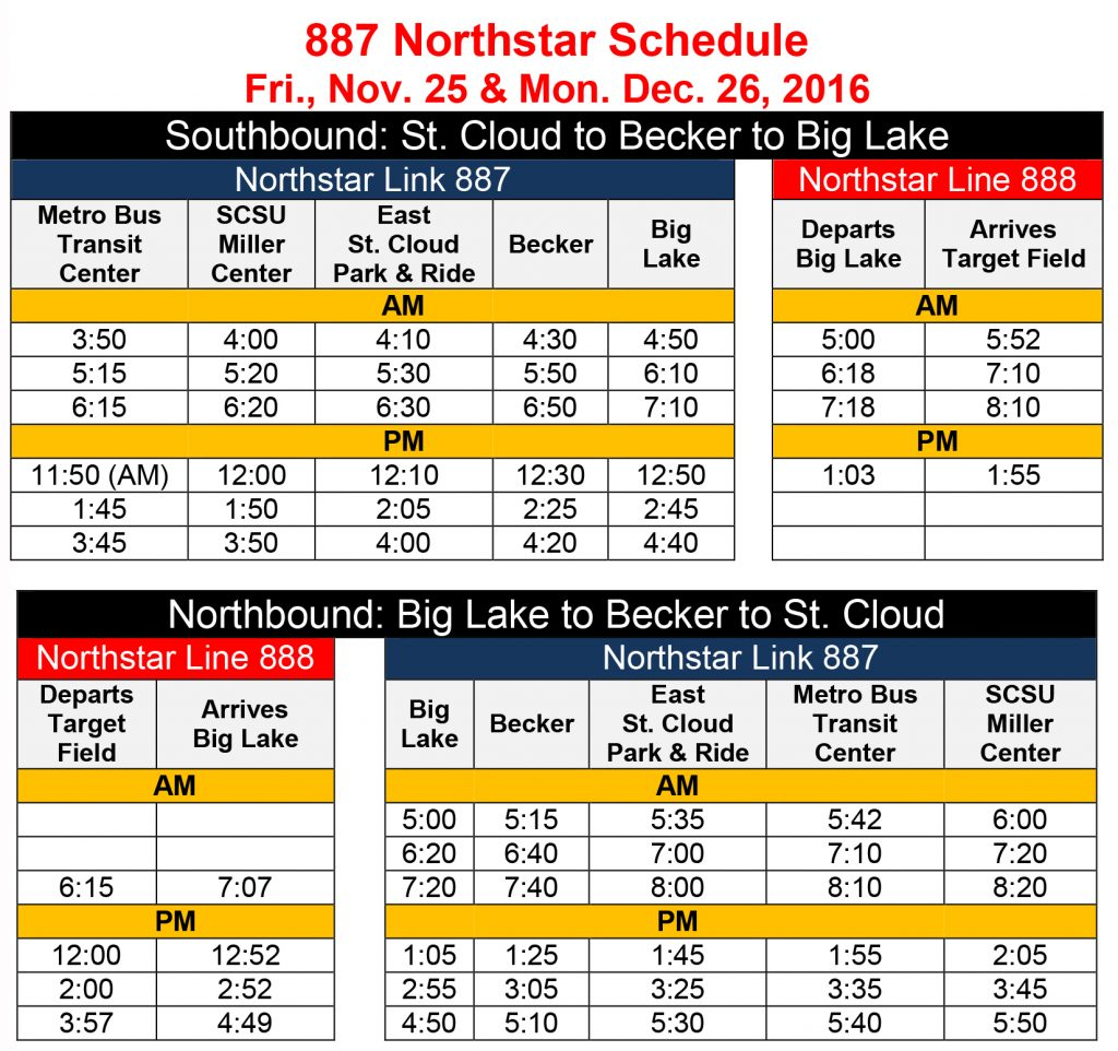Northstar Link bus schedule for Friday, Nov. 25 and Monday, Dec. 26. Southbound buses will depart the Transit Center at 3:50, 5:15, 6:15 and 11:50 am and 1:45 and 3:45 pm; SCSU Miller Center at 4:00, 5:20 and 6:20 am and noon, 1:50 and 3:50 pm; East St. Cloud Park and Ride Lot at 4:10, 5:30 and 6:30 am and 12:10, 2:05 and 4:00 pm; Becker at 4:30, 5:50 and 6:50 am and 12:30, 2:25 and 4:20 pm; to arrive in Big Lake at 4:50, 6:10 and 7:10 am and 12:50, 2:45 and 4:40 pm. Northbound buses will depart Big Lake at 5:00, 6:20 and 7:20 am and 1:05, 2:55 and 4:50 pm; Becker at 5:15, 6:40 and 7:40 am and 1:25, 3:05 and 5:10 pm; East St. Cloud Park and Ride Lot at 5:35, 7:00 and 8:00 am and 1:45, 3:25 and 5:30 pm; Metro Bus Transit Center 5:42, 7:10 and 8:10 am and 1:55, 3:35 and 5:40 pm; to arrive at SCSU Miller Center at 6:00, 7:20 and 8:20 am and 2:05, 3:45 and 5:50 pm.